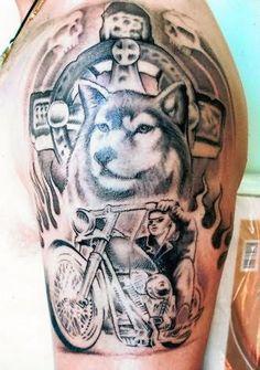 tattoo on pinterest wolf tattoos biker tattoos and dog tags tattoo. Black Bedroom Furniture Sets. Home Design Ideas