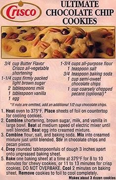 Die for Chocolate: Retro Crisco Chocolate Chip Cookies - Recipes to Try - . - Die for Chocolate: Retro Crisco Chocolate Chip Cookies – Recipes to Try – - Crisco Cookies, Oatmeal Chocolate Chip Cookie Recipe, Oatmeal Cookie Recipes, Galletas Cookies, Candy Cookies, Chocolate Chip Recipes, Cookie Desserts, Yummy Cookies, Cookies Et Biscuits