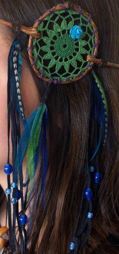 Headband, Dream Catcher Flower Crown, Feather hair accessories, Wire vine halo garland,, Kawaii, Leather tassels.
