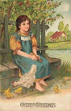 girl with chicken Thanksgiving Greetings, Valentines Greetings, Easter Greeting Cards, Vintage Greeting Cards, Vintage Pictures, Vintage Images, Resurrection Day, Mosaic Portrait, Easter Crafts
