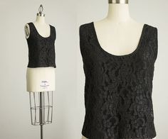 90s Black Lace Tank Top / Size Small by decades on Etsy