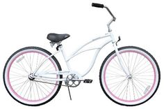 Firmstrong Urban Lady Single Speed - Women's 26″ Beach Cruiser Bike (White with Pink Rims) for sale