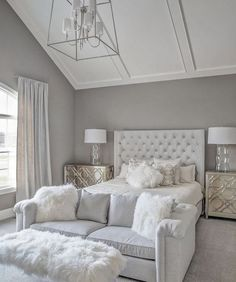 Stunning all white glam bedroom decor with white velvet tufted bed and sheepskin. Stunning all white glam bedroom decor with white velvet tufted bed and sheepskin bench IVO DE JONG White Bedroom Decor, Glam Bedroom, Stylish Bedroom, Home Decor Bedroom, Modern Bedroom, Contemporary Bedroom, Diy Bedroom, Bedroom With Couch, White Bedrooms