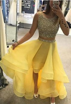 Hot Sale Nice High Low Prom Dresses, Prom Dresses A-Line, Prom Dresses Yellow, Two Pieces Homecoming Dresses Yellow Homecoming Dresses, Two Piece Homecoming Dress, Prom Dresses Two Piece, Cute Prom Dresses, Grad Dresses, Pretty Dresses, Formal Dresses, Prom Gowns, Dress Prom