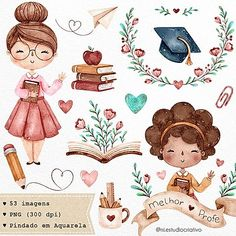 Clip Art, Doodles Bonitos, Teacher Stickers, Halloween Clipart, Spooky Halloween, Watercolor Images, Teachers' Day, Cute Doodles, Cute Illustration