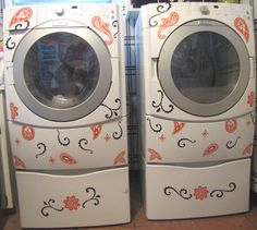 Washer and Dryer Decals-Fresh Paisley, Appliance Vinyl. $45.00, via Etsy.