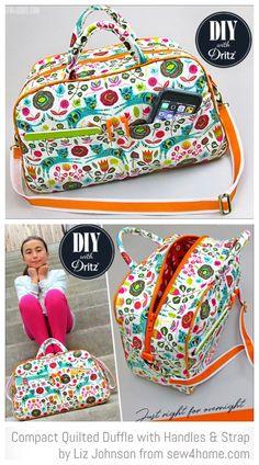 DIY Compact Quilted Travel Duffle Bag Free Sewing Patterns Source by famlehmann Duffle Bag Patterns, Diy Bags Patterns, Sewing Patterns Free, Free Sewing, Diy Duffle Bag, Duffle Bag Travel, Tote Bag, Diy Handbag, Diy Purse