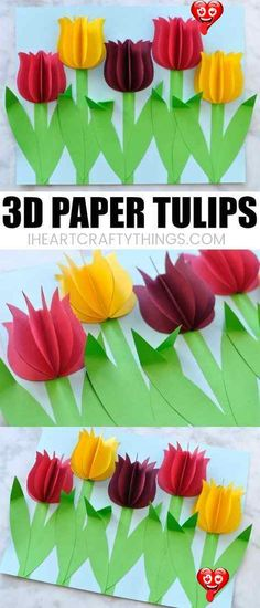 Gorgeous 3D Paper Tulip Flower Craft  <br> This colorful paper tulip flower craft makes a great spring kids craft or spring flower craft for kids. It also makes a great Mother's Day craft for kids. This pretty flower craft is easy to make and you will love how the 3D paper tulips and folded stems pop off the page. Kids Crafts, Mothers Day Crafts For Kids, Spring Crafts For Kids, Preschool Crafts, Projects For Kids, Crafts To Make, Spring Flowers Art For Kids, Paper Flowers For Kids, Flower Craft Preschool