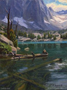 """Sierra Waters—First Lake"" by Charles Muench; 12""x9""; Oil on Linen #CaliforniaArt #EnPleinAir"