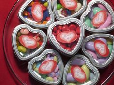 Silver Heart Shaped Favor Tins