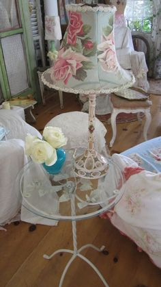Beautiful light pink hand painted roses glass lamp