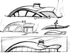 Sketches by Michael DiTullo at Concept Board Architecture, Conceptual Architecture, Architecture Sketchbook, Landscape Architecture Design, Organic Architecture, Facade Architecture, School Architecture, Pavilion Design, Illustration