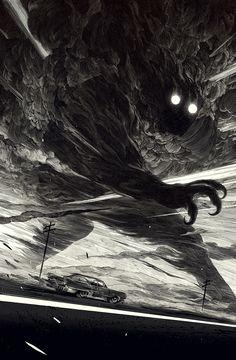 """Nicolas Delort: """"Black and White"""" (Die Ungeheuer im Unbewussten werden manifest. Erinnert an den Gott des Sturmes, Wotan - Odin.)"""