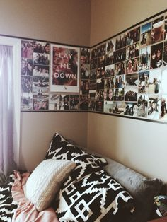 Dorm room ideas: make a wallpaper out of photos, posters, art, etc and outline it in washi tape to really make it pop!