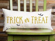 Trick or Treat Halloween Pillow Halloween Decoration Organic   Etsy