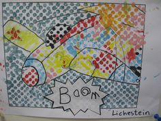 Roy Lichtenstein for kids. Working with dots template and ear sitck cleaner for painting, easy for kids