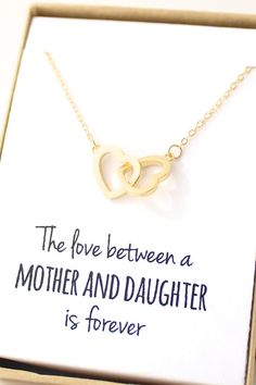 the love between a mother and daughter is forever sweet gold heart necklace