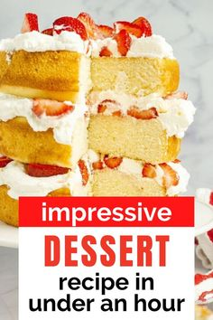 Impress your guests at your next family or holiday gathering with this easy and tasty balsamic strawberries and cream vanilla tiered cake. Best dessert recipe to save.