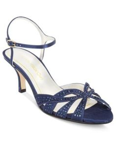 Caparros Heirloom Evening Sandals, Make it a special night. The Heirloom mid-heel evening sandals feature a low heel and sparkling crystal detail on the crisscrossing straps. Mid Heel Sandals, Low Heel Shoes, Shoes Sandals, Navy Sandals, Blue Heels, Women Sandals, Strappy Heels, Light Blue Wedding Shoes, Silver Wedding Shoes