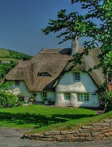 CURB APPEAL – another great example of beautiful design. english storybook cottage a thatched roof is charming. Storybook Homes, Storybook Cottage, English Country Cottages, English Countryside, Country Homes, Cute Cottage, Cottage Style, Irish Cottage, Tudor Cottage