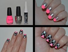 nails pink | Glitter and Gloss Nails: Black and Pink Argyle Mani
