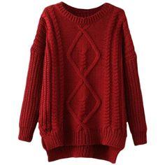 Blackfive Rhombus Pattern Asymmetric Hem Loose Md-long Sweater ($30) ❤ liked on Polyvore featuring tops, sweaters, shirts, blackfive, long loose sweaters, print shirts, red shirt, asymmetrical hem sweater and asymmetrical shirt