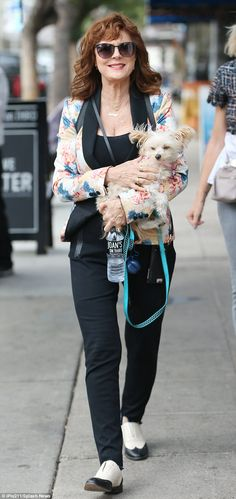 Susan Sarandon carries her dog as she shops in Los Angeles | Daily Mail Online