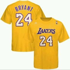 Kobe Bryant #24 Lakers Adidas Gold Net Number Shirt NBA Yellow/White Sz 2XL NWT…
