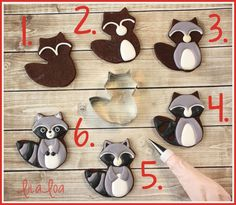 How to make decorated woodland raccoon cookies - using the cute fox cutter! Love these from LilaLoa!!!