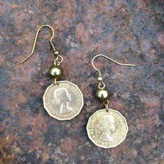 Three penny piece earrings, vintage coin earrings, old English coin earrings on Etsy, £9.95