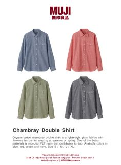 Organic cotton chambray double shirt is a lightweight plain fabrics with timeless texture for wearing at summer/spring. Available colors in blue, red, green and navy. Size S / M / L / XL.
