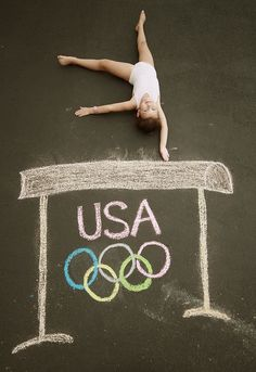 Future Olympian...adorable!!!  I need to try this! #chalk drawing #photography