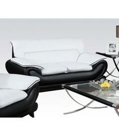 Oral Black/White Leather Loveseat 50456