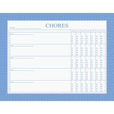 Chore Chart Notepad: Keeping track of chores has never been this stylish. With space for five family members, each member will have their own list of chores to complete each week. Having a chore chart enables families to keep track of what chores have been completed and which ones still need doing. http://www.calendars.com/Notepads/Chore-Chart-Notepad/prod201300000116/?categoryId=cat00151=cat00151