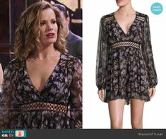 Chelsea's floral dress at Chloe's bachelorette party on The Young and the Restless.  Outfit Details: https://wornontv.net/68751/ #TheYoungandtheRestless