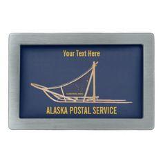 Alaska Dog Sled Postal Carrier Rectangular Belt Buckle - accessories accessory gift idea stylish unique custom