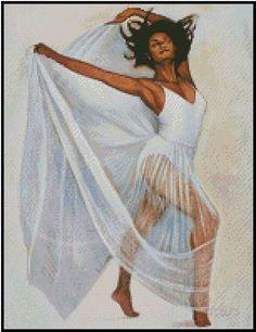 Cross Stitch Chart AFRICAN AMERICAN DANCER - No. 25-113 (Large Print) #Valentinas #Frame