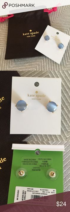 Brand New Blue Cats Eye Kate Spade Studs Gorgeous, brand new authentic KS small Studs. They are smaller than a dime. Pretty bluish-grey cats eye design. Come with Kate Spade dustbag. 🚫Deals outside of Posh 🚫Trades, please don't ask. All items come from smoke free and pet friendly home. Bundle for savings! Happy Poshing😊 kate spade Jewelry Earrings