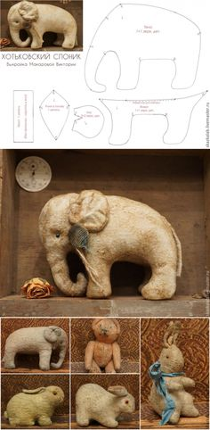 We revive culture. The Hotkovsky elephant - the Fair of Masters - handwork, handmade Sewing Stuffed Animals, Stuffed Animal Patterns, Easy Sewing Projects, Sewing Crafts, Teddy Toys, Elephant Pattern, Animal Projects, Sewing Toys, Love Sewing