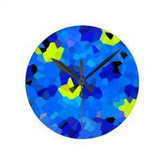 Blue and Yellow Mosaics Wall Clock   #blueandyellow #homedecor  $22.95