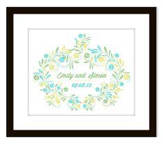 Decorative Wedding Wreath Art Print. $20.00, via Etsy.