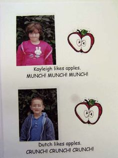 Make a class book like this to reinforce introduction of ch with crunch and munch. Or do a Ten Apples Up on Top Book to reinforce names or somehow combine the 2 ideas. Preschool Class, Preschool Activities, Kindergarten, Apple Unit, Apple Books, Action Alphabet, Class Books, Teaching Themes, Johnny Appleseed