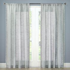 "Pom Stripe Window Sheer Gray (54""x108"") - Threshold"