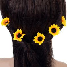 Polytree 10Pcs Daisy Sunflower Bridal Wedding Hair Pins Hair Clips ($3.58) ❤ liked on Polyvore featuring accessories, hair accessories, bridal hair accessories, daisy hair clips, barrette hair clip, daisy hair accessories and bride hair accessories