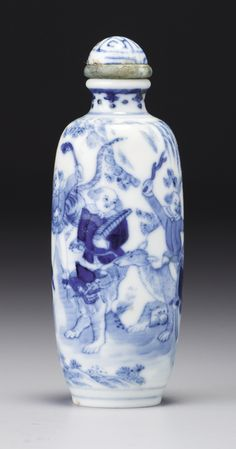 Blue & White Porcelain 'Foreign Tribute Bearers' Snuff Bottle