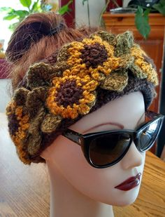 Double Sunflower Fleece Lined Headband — Alily Crochet