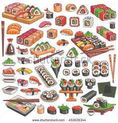 Colorful sushi and rolls set. Japanese traditional cuisine dishes - nigiri, temaki, tamago, sashimi, uramaki, futomaki. Vector illustration isolated on white background for asian restaurant menu.