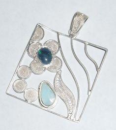 Opal and Larimar Filigree Pendant