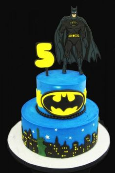 Tiered Batman Cake Connor would love this