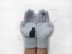 Christmas Gift, Cat Gloves, Grey, Bird, Xmas Gift de Yastikizi Handmade por DaWanda.com